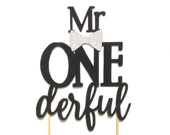 1 pc Mr ONE derful script Black Glitter Cake Topper bow tie first Birthday boy Baby shower cake smash party