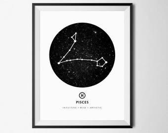 Pisces Constellation Print, Pisces Wall Art, Zodiac Constellation, Pisces Zodiac, Pisces Poster, Constellation Poster, Astrology Print, 8x10
