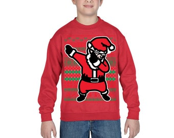YOUTH** Dabbing Santa ugly Christmas Sweater for kids , Xmas Sweater, Christmas party, Holiday gift