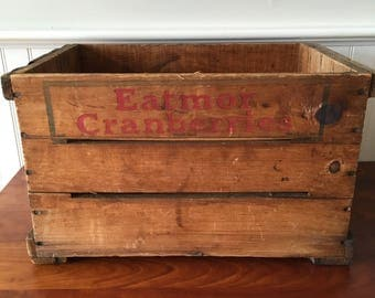 Wooden Fruit Crate Cranberry Crate Wood Box Wood Crate Orchard Vintage Crate Wooden Crate Eatmor Cranberries Advertising Fruit Crate
