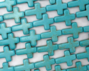 "16mm blue turquoise cross beads 16"" strand 38632"