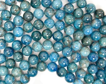 "10mm natural blue apatite round beads 15.5"" strand 38437"