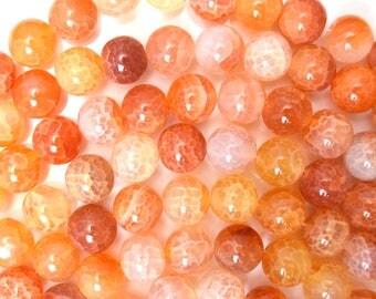 "10mm orange crab fire agate round beads 15"" strand 38311"