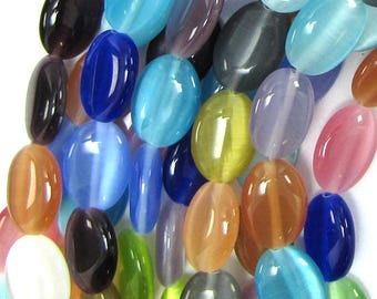 "14mm fiber optic cats eye flat oval beads 15"" strand multicolor 13970"