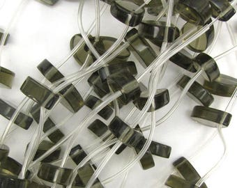 "18mm smoky quartz flat teardrop beads 15"" strand 10570"