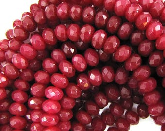 "6mm faceted ruby red jade rondelle beads 7.5"" strand 11580"