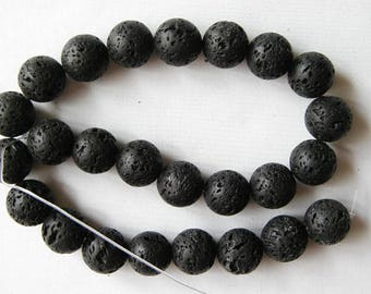 "16mm black volcano lava round beads 16"" strand 2171"