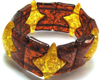 "33mm multicolor synthetic honey amber stretch bracelet 8"" 15634"