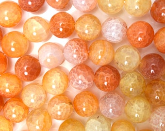 "12mm orange crab fire agate round beads 15"" strand 38312"