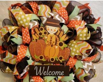 SALE Fall Welcome Wreath, Fall Wreath, Fall Wreaths, Scarecrow Wreath, Harvest Wreath,Thanksgiving Wreath, Happy Thanksgiving