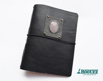 A5 black travelers notebook with rose quartz