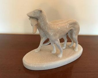 Antique greyhounds statue - ceramic - art deco - dogs - crackle - ceramic