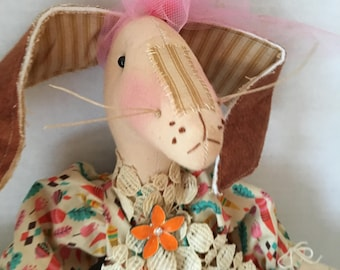 Handmade Bunny Doll, Art Doll Rabbit, Handmade Primitive Bunny, Primitive Rabbit, Dolls Handmade, Bunny Decor, Home Decor, Rabbit Decor, Art