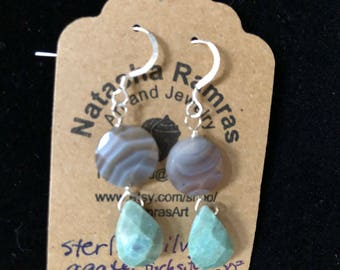 Lace agate and chalcedony teardrop earrings