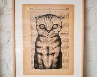 CATS No. 5. Printed drawing on recycled paper with highlights in black ink. 9,5x6,8in. Gift, Christmas, la petite illustration, cats