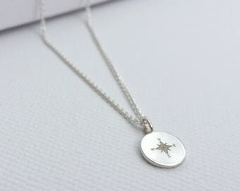 Tag necklace compass (length: 45 cm, material: Silver)