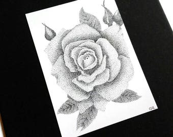 The Rose Original Pen and Ink Botanical ACEO Pointillism Drawing