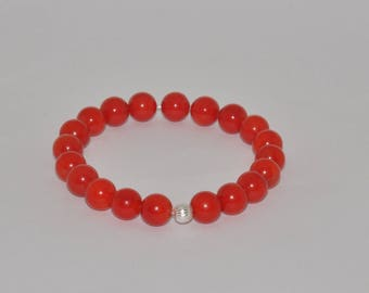 Elastic bracelet 925 sterling silver and Red bamboo coral beads