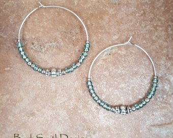 """Beaded Turquoise Celsian Blue and Silver Hoop Earrings, Large 1 3/8"""" Diameter"""