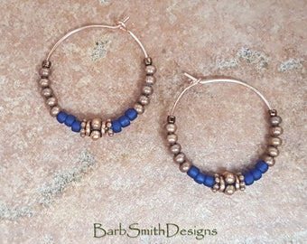 "Beaded Cobalt Blue Copper Rose Gold Hoop Earrings, 1"" Diameter in Cobalt"