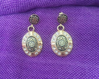 Damascening earrings of Toledo, Spain