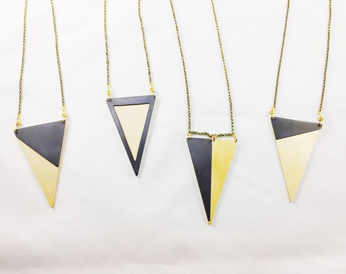 Black and Gold Triangle Pendant