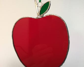 Stained Glass Red Apple Ornaments