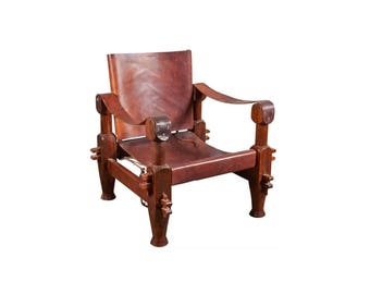 Leather Safari Chair, Mid-Century Chair, Campaign furniture, Vintage Furniture, Leather