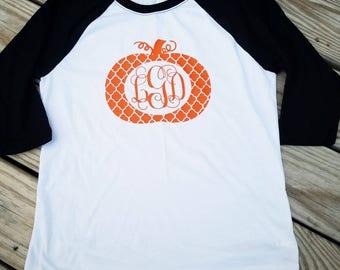 Monogrammed Pumpkin, Monogrammed Pumpkin Raglan, Fall shirt, Monogrammed Pumpkin Shirt, Fall Shirt, Monogrammed Fall Shirt, Pumpkins