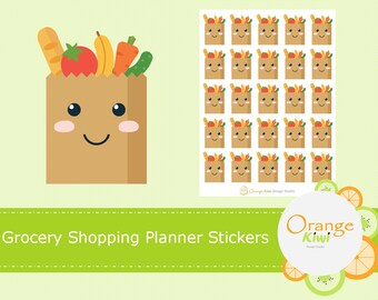 Grocery Shopping Planner Stickers, Grocery List, Groceries, Meal Planning, Shopping, Erin Condren, Happy Planner, Mambi