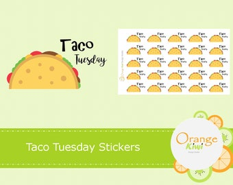 Taco Tuesday Stickers, Taco Night, Meal Planning, Taco Stickers, Planner Stickers, Erin Condren Life Planner