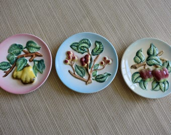 vintage japanese fruit wall plate set of 3 vintage decorative apple cherry pear - Decorative Wall Plates
