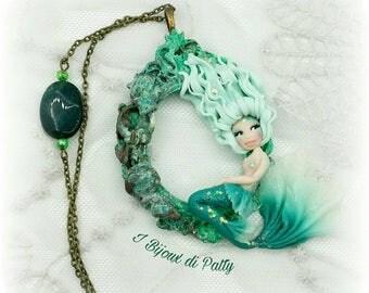 Collana con cammeo con sirena verde