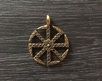 Kolovrat pendant Slavic Sun talisman - bronze