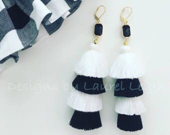 BLACK and WHITE Layered Tassel Earrings | stacked, tiered, gold, statement earrings, lightweight, team colors, game day, UGA, Georgia