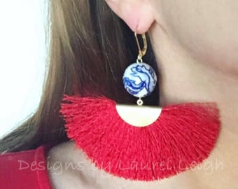 RED, Chinoiserie Fan Earrings | blue and white, fringe, lightweight, statement earrings, gold, Designs by, Laurel Leigh