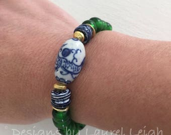 GREEN BLUE and WHITE beaded bracelet | chinoiserie, Chinese, stretchy, gold, Designs by Laurel Leigh, emerald