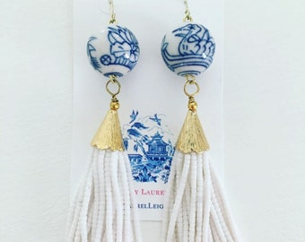 WHITE Chinoiserie Beaded Tassel Earrings | gold, blue and white, statement earrings, floral, Designs by Laurel Leigh