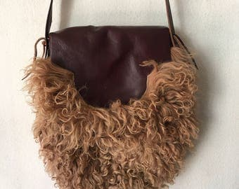 Real handmade crossbody handbag made from real astrakhan fur, soft fur fashionable bag new designer handbag women's brown color size-medium.
