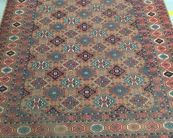 Carpet rug 100% wool geometric pattern rug brown blue and beige color warm vintage rug old big heavy retro suitable for home & restaurant.