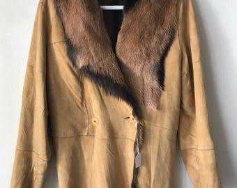 Double side suede coat , goat fur coat soft and beautiful woman size medium .