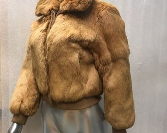 Rabbit fur coat woman size small .