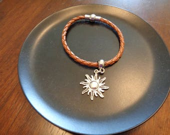Leather Braided Bracelet with sun charm