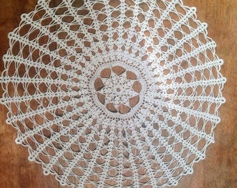 Vintage White Hand crochet Table mat, Doily