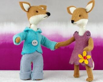 Felix and Charlotte fox, hand sewn wool felt fox ornaments - CynthiaTreenStudio pattern.