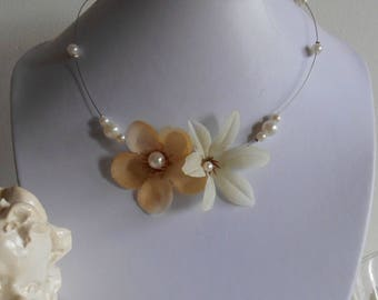 Pair of beaded flowers white and cream wedding necklace
