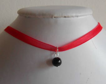 Adult/child red organza Ribbon and black pendant wedding necklace