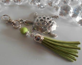 "Bag charm / key ""Turtle Island"" green pendant"