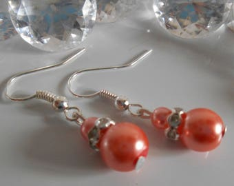 Wedding earrings rhinestone and Pearl coral