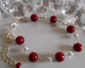 Wedding bracelet twist of Burgundy and white pearls